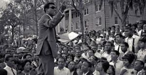 "The late Kwame Ture (Stokely Carmichael), as he addressed a Black Studies rally ""back in the day."""